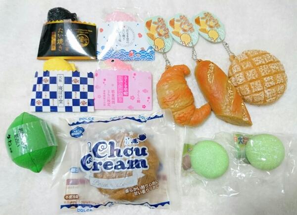 スクイーズ ぷにぷにパン たい焼き シュークリーム レモン もちもち大福 など 11点セット