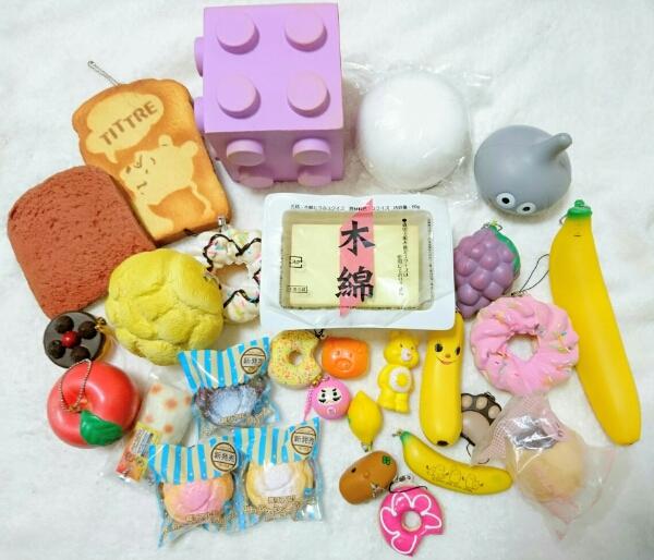 スクイーズ 木綿豆腐 ブロック ディズニー 食パン ぶどう りんご レモン シュークリーム バナナ ドーナツ カピバラさん など 28点セット
