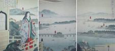/HANA/希少!本物 浮世絵 名所絵 近江八景全圖 石山から見る 三枚続 広重画!