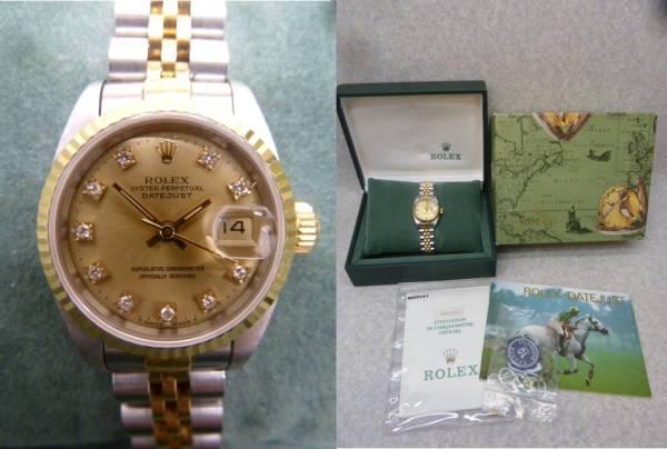 ★☆【ロレックス】デイトジャスト 10P レディース 腕時計 自動巻き Ref.69173 X番 ケース・付属品付き ot★☆_画像1