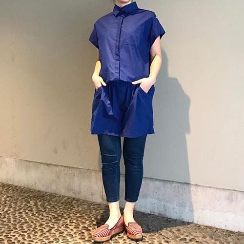 Traditional Weatherwear トラディショナルウェザーウェア シャツワンピース フレンチスリーブ S 【中古】_着用イメージ(※モデル:160cm Mサイズ)