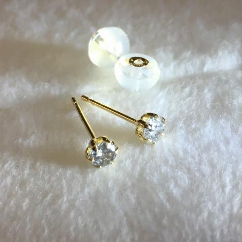 新品◆K18YG ダイヤ ピアス◆0.25ct天然ダイヤモンド18金