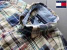 ★希少品 トミーヒルフィガーTOMMY HILFIGER パッチワーク マドラスチェック ボタンダウンシャツ 半袖 Lサイズ POLO VAN JAC Kent Jプレス