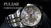 【1円】PULSARパルサー逆輸入モデルSEIKOセイコー腕時計メンズクロノグラフ防水50m新品未使用日本未発売アナログメタルバンド