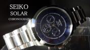 【1円】SEIKOセイコー逆輸入モデルsolarソーラー腕時計クロノグラフメンズ展示品未使用日本未発売ローマ数字シルバー/ブルーアナログメタル