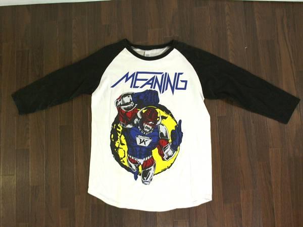 ミーニング【MEANING】5分袖ラグラン プリントTシャツ S 黒白