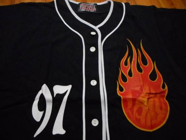 B'z LIVE-GYM Pleasure 97 FIREBALL  Fire Ball Tour ベースボール シャツ フリーサイズ フロントプリントのみ 1997年 ツアーグッズ