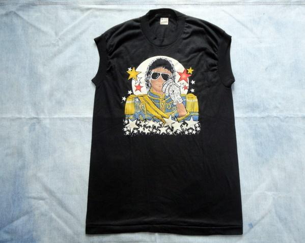 スクリーンスターズ USA製 マイケルジャクソン ノースリーブTシャツ フロッキープリント 80's 送料無料