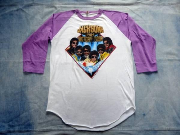 USA製 スクリーンスターズ 1984年 ジャクソンズ マイケルジャクソン ビクトリーツアー ペプシ PEPSI ベースボールTシャツ ライブグッズの画像