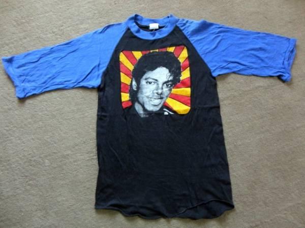 マイケルジャクソン 七分袖Tシャツ ヴィンテージ ベースボールTシャツ 80's 送料無料 ロック T_画像1