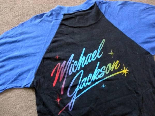 マイケルジャクソン 七分袖Tシャツ ヴィンテージ ベースボールTシャツ 80's 送料無料 ロック T_画像2