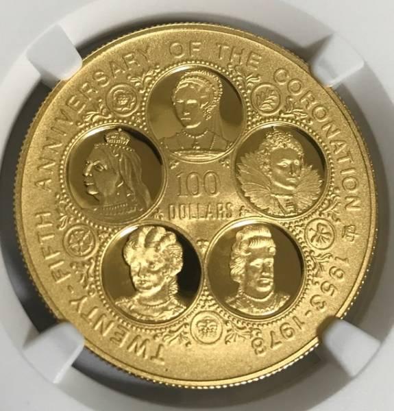 【3枚限定】イギリス領ケイマン諸島 FIVE QUEENS 100ドルプルーフ金貨 PF68UC 5ポンドの大きさ エリザベス ビクトリア肖像