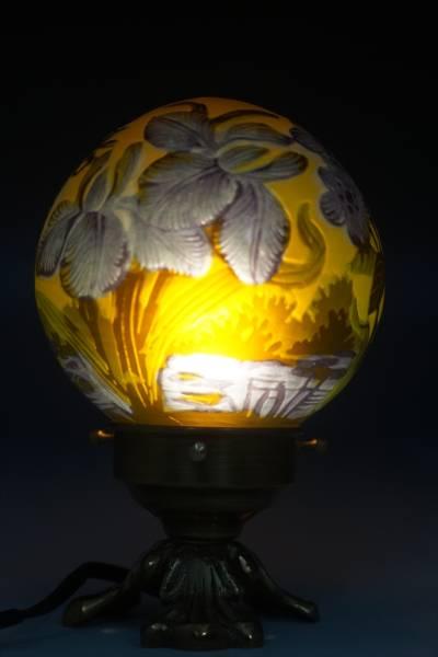 ◆◇エミールガレ 蜻蛉文 卓上ランプ◆台座ブロンズ◆ナイト照明 オフィスランプ ドームランプ N-1289◇◆