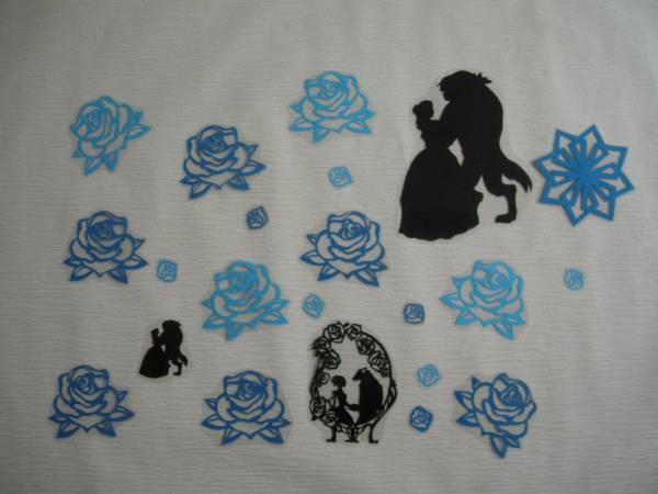 美女と野獣☆青薔薇☆シルエット☆壁面飾り☆ラミネート☆