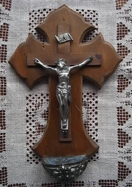 フランスアンティーク 木製十字架 大きな聖水盤 キリスト 教会 聖品 オブジェ