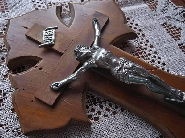 フランスアンティーク 木製十字架 大きな聖水盤 キリスト 教会 聖品 オブジェ_画像2