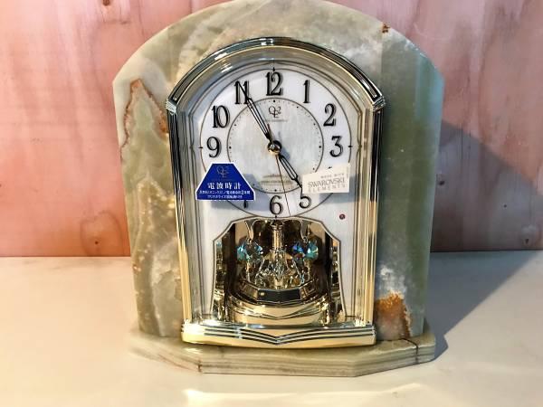(31)スワロフスキー 置時計 クイーンエリザベス 美品