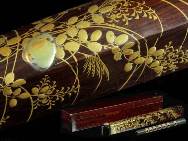 ◆廻◆ 古美術品 篳篥 紫檀製稲穂図高盛蒔絵箱 二重箱 ひちりき 極上品 和楽器骨董 [BA27