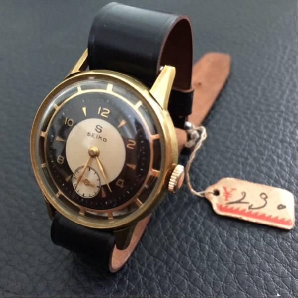 超美品 希少 昭和初期の精工舎 SEIKO 手巻式 アンティーク時計 未使用デッドストックの馬コードバン製ベルト_画像2