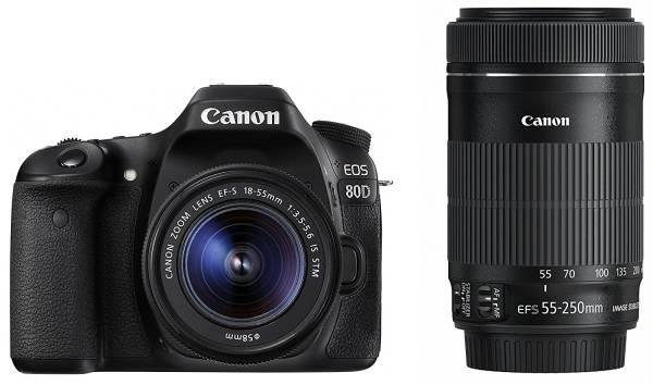 Canon デジタル一眼レフカメラ EOS 80D ダブルズームキット EF-S18-55 IS STM/EF-S55-250 IS STM付属 EOS80D-WKIT