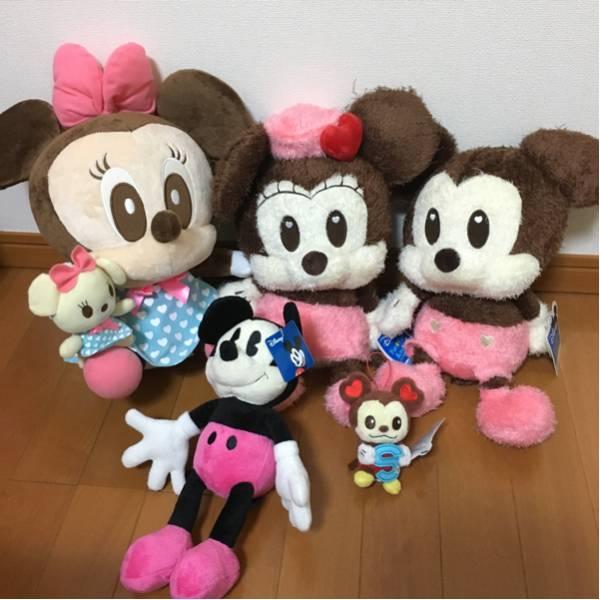 非売品★大きなぬいぐるみ中心 ミッキー&ミニー 5体セット★ディズニー ディズニーグッズの画像