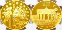 【ベルリンの壁崩壊20周年】エウロパ 大型金貨 フランス 200ユーロ PF69UC 最高鑑定 2枚のみ【歴史的瞬間】