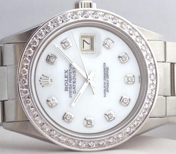 極美品 ロレックス デイトジャスト 10Pダイヤ 白MOP ホワイトシェル ダイヤベゼル Ref.1603 OH済 Cal.1570 オイスターブレスROLEX DATEJUST