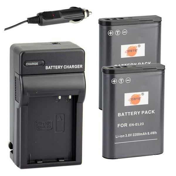 Nikon EN-EL23 互換 カメラ バッテリー 2個+充電器キット 対応機種 Coolpix P600 P610 S810C P900 P900S