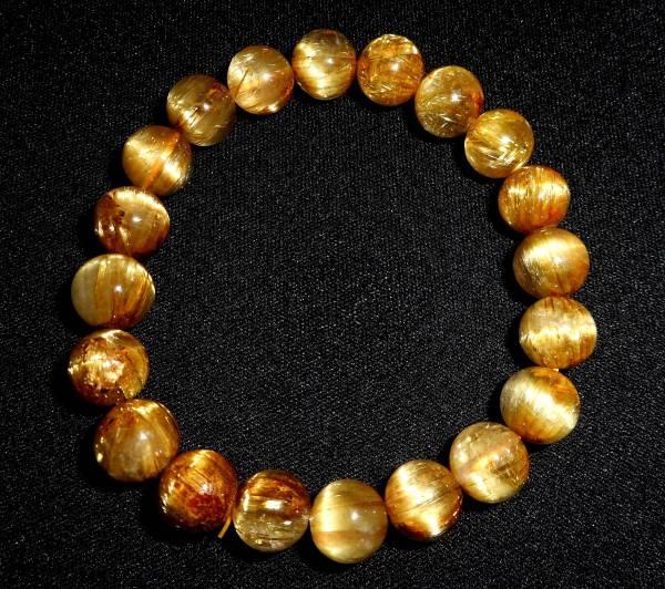 新品 タイチン ルチル キャッツアイ入り ゴールドブレスレット 数珠 32g 11mm ブラジル産 針水晶 プラチナクォーツ プラチナ 最高級品 5A_画像1
