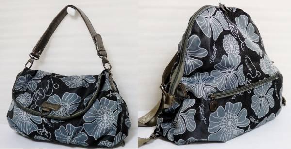 Vittorio Godi 2通り ジャガード織り リュック ハンドバッグ 花柄 黒 ヴィットリオ・ゴーディ レディース 婦人バッグ 2way_画像1