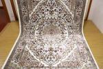 高級天然シルク100% ペルシャ柄絨毯 新品未使用 157×247 訳あり アウトレット 白
