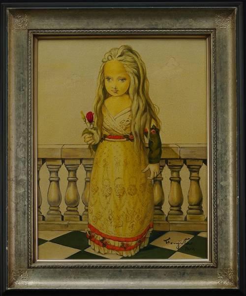 ◆藤田嗣治◆バラを持った少女◆肉筆◆油彩◆鑑定書◆画面サイン◆F6◆額装有り◆
