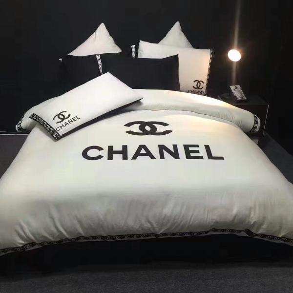 新品 CHANEL シャネル ダブルベッド用寝具四点セット おしゃれ 1点のみ