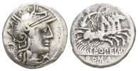 紀元前 古代ローマ 共和政ローマ チャリオット(戦車 戦闘用馬車) 銀貨 3,79 g / 17 mm