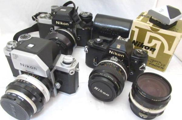 259☆ニコン ジャンク扱 EM Micro-NIKKOR 55mm 3.5/F2 NIKKOR-S C AUTO 1.4 50mm/NIKKOR-H 3.5 28mm/F 1.4 50mm/ファインダー