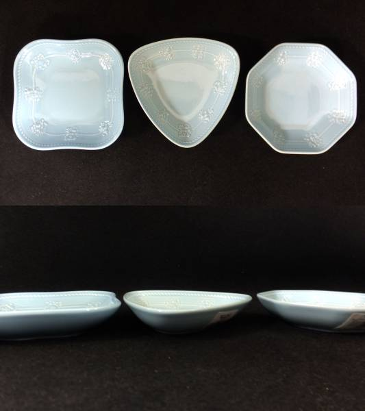 【I63】未使用♪ウェッジウッド クィーンズウェアコレクション 3種の可愛い小皿☆ペールブルー/プチトリオトレイ_画像2