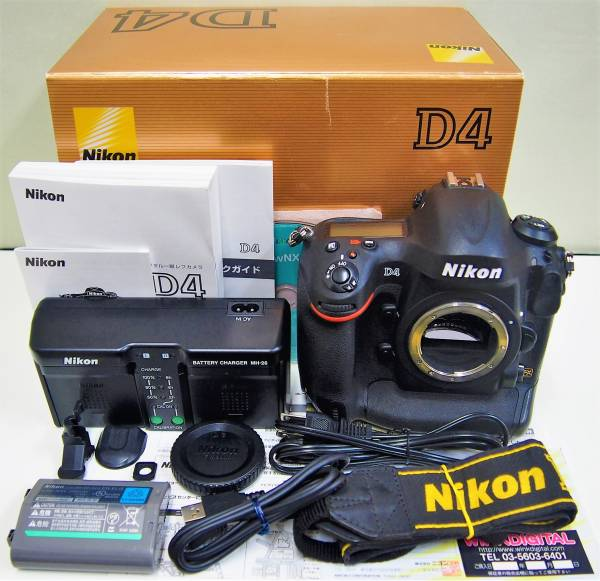 2★ ニコン Nikon デジタル 一眼レフ カメラ D4 ボディ ブラック 箱 説明書 バッテリー 他 付属品あり digital camera