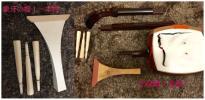 三味線 綾杉胴 中棹 2.6cm 金細 (K18刻印)撥 本象牙あり ハードケース付き 管KSB