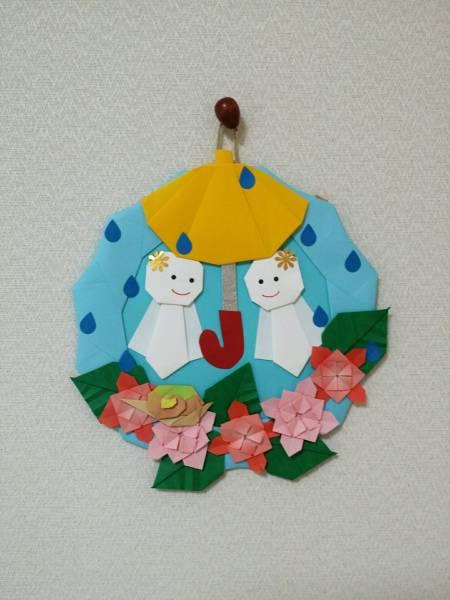 折り紙 リース 梅雨 6月 てるてる坊主 壁面飾り 保育園 施設