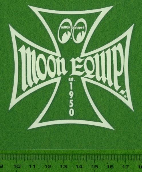 8cm ステッカー ムーンアイズ eyes mooneyes MOON Equipped Iron Cross デカール シール アイアンクロス 抜きデカール アイボリー_画像2