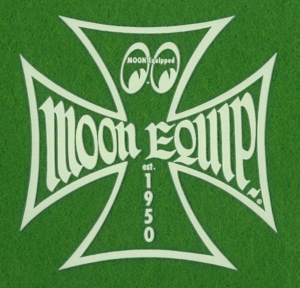 8cm ステッカー ムーンアイズ eyes mooneyes MOON Equipped Iron Cross デカール シール アイアンクロス 抜きデカール アイボリー_画像1