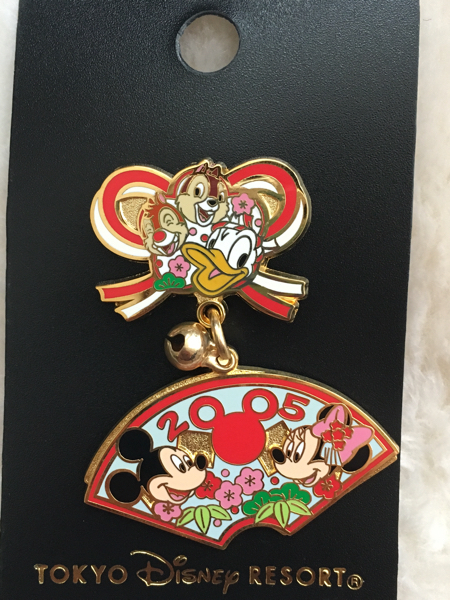 東京ディズニーランド限定 TDL お正月2005 チップ&デール ドナルド ピンバッジ ディズニーグッズの画像