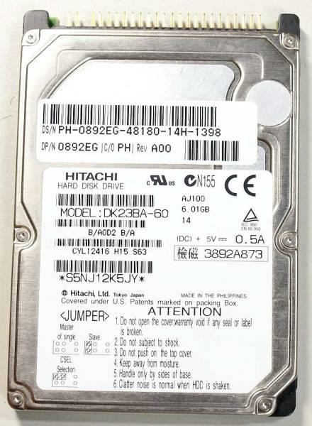 「日立 HITACHI DK23BA-60 ディスク容量 60G 2.5インチ ATAハードディスク 9.5mm厚 40pin接続 (内蔵 2.5 UltraATA 80GB未満)」の画像