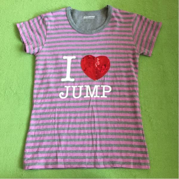 新品同様 Hey!Say!JUMP 半袖 ティーシャツ スパンコール ボーダー ピンク グレー 公式 グッズ コンサートグッズの画像