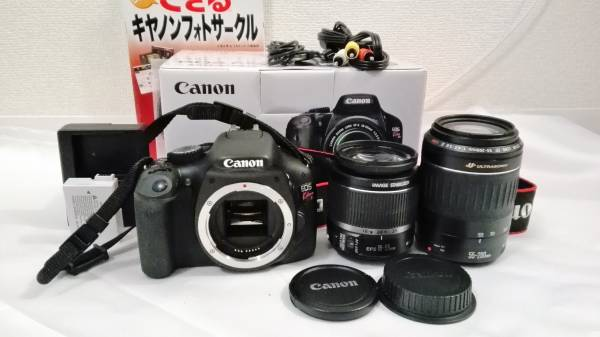 Canon EOS kiss X4 ダブルレンズセット EF-S18-55 IS EF 55-200mm F4.5-5.6 II USM AF 付属品充実 元箱付