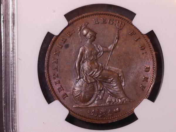 イギリス・ペニー銅貨・ヴィクトリア 1855年 NGC64BN_画像2