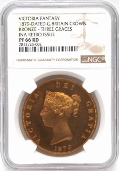 発行790枚 イギリス 1879 三美神 ビクトリア女王 FANTASY クラウン 銅貨 NGC PF66 RD 最上級_画像3