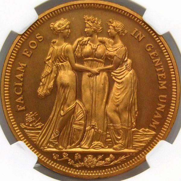 発行790枚 イギリス 1879 三美神 ビクトリア女王 FANTASY クラウン 銅貨 NGC PF66 RD 最上級