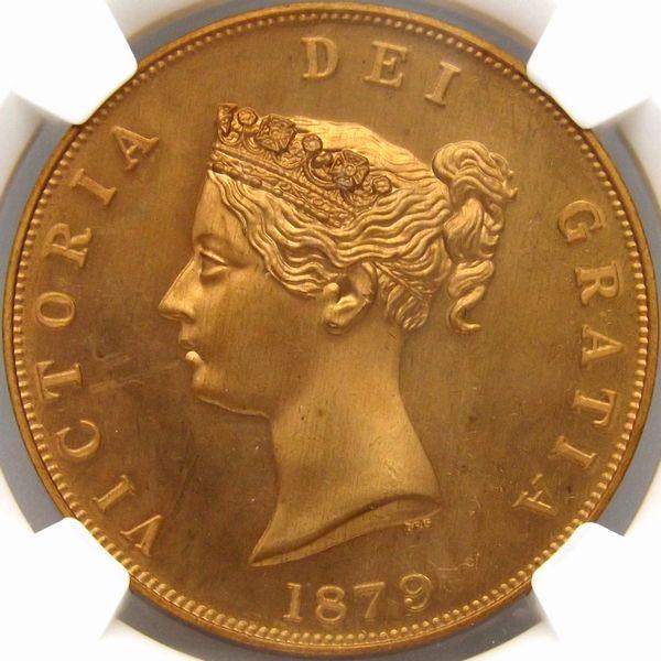 発行790枚 イギリス 1879 三美神 ビクトリア女王 FANTASY クラウン 銅貨 NGC PF66 RD 最上級_画像2