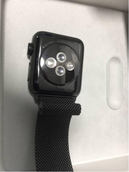 美品 Apple Watch series 2 ブラックステンレススチール 38mm ミラネーゼループ おまけ付き_画像3